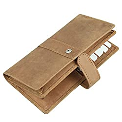 Tan Hand Crafted Hunter Leather Slim Wallet for Women,Girls & Ladies