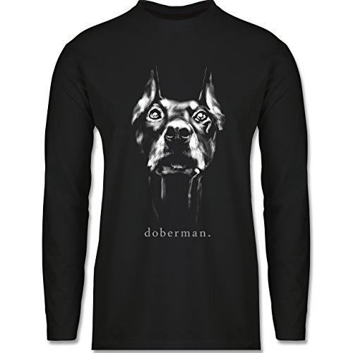 Shirtracer Hunde - Doberman - Herren Langarmshirt Schwarz