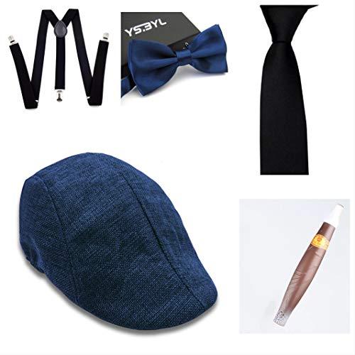 thematys® Cappello Gangster Mafia al Capone + Farfallino + Bretelle + Cravatta + Sigaro - Set Costumi Anni '20 per Donne e Uomini - Perfetto per Carnevale (3)