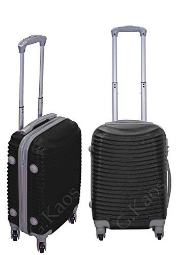 Trolley da cabina valigia rigida 4 ruote 360° gradi in abs policarbonato antigraffio e impermeabile compatibile voli lowcost come Easyjet Rayanair art 2030 (Nero)