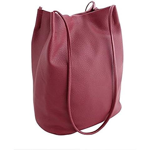 Bolso de estilo retro Color puro en forma de cubo lavable PU cuero doble correa de las mujeres solo-bandolera