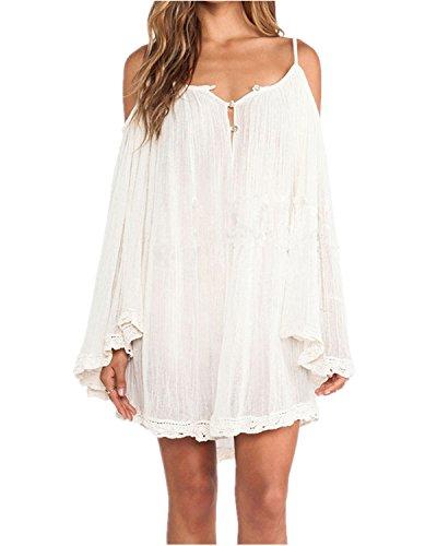 ZANZEA Donna Vestiti Spiaggia Sciolto Costume Bikini Beach Senza Spalline Coprire Estate Bianco IT 38/ASIAN M