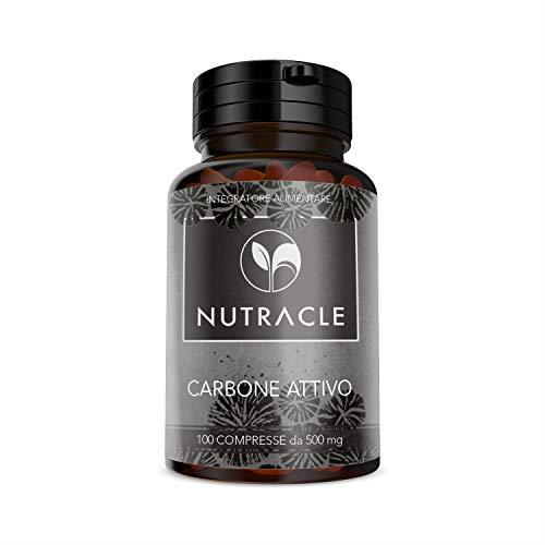 NUTRACLE - 100 Tabletas de Carbón Vegetal Activado de 500 mg   Elimina gases intestinales, Combate...