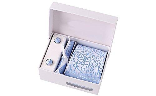 Coffret Copenhague - Cravate bleu ciel à motif floral ton sur ton avec fil argenté, boutons de manchette, pince à cravate, pochette de costume