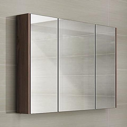 900mm Walnut Wall Hung 3 Door Bathroom Mirror Cabinet Storage Unit
