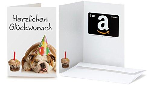 Amazon.de Geschenkkarte in Grußkarte - 40 EUR (Geburtstag Bulldog) -