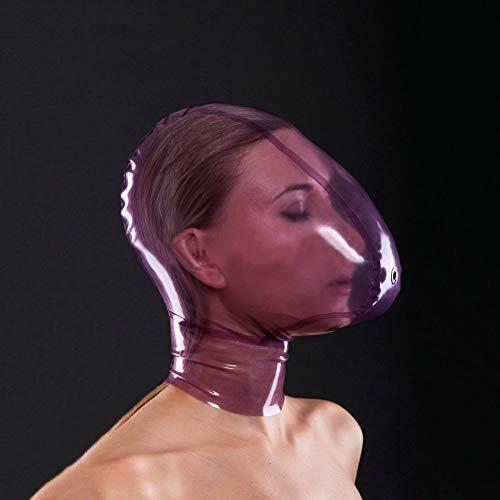 Zweit Am Besten Kostüm Zu - 100% Naturlatex Maske Gummi Essen SM Fetisch Volle Bondage Maske - Latexmaske Vollgesichtsmaske aus 0.4mm Latex, mit hochwertigem Reißverschluss,Lila,L