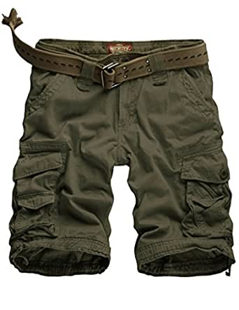 Match Mens Twill Cargo Shorts Quick-dry Summer Shorts S3612(3612 Army green,36W x Regular)