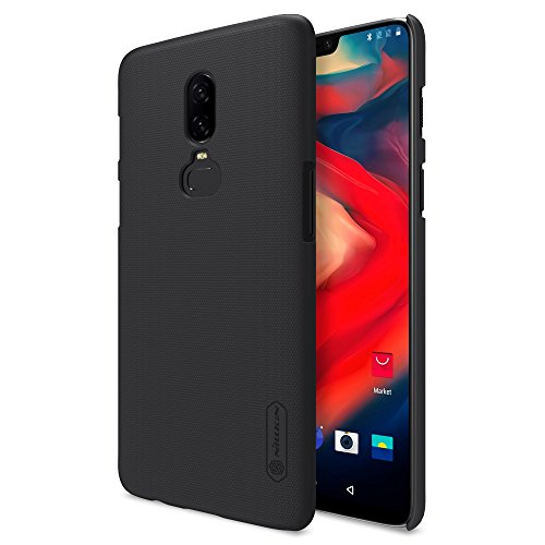 Nillkin Custodia OnePlus 6 Cover, Frosted Shield Series [Con pellicola protettiva] Ultra Slim Thin PC Materiale Cassa dura protettiva Back Cover per OnePlus 6 (Nero)