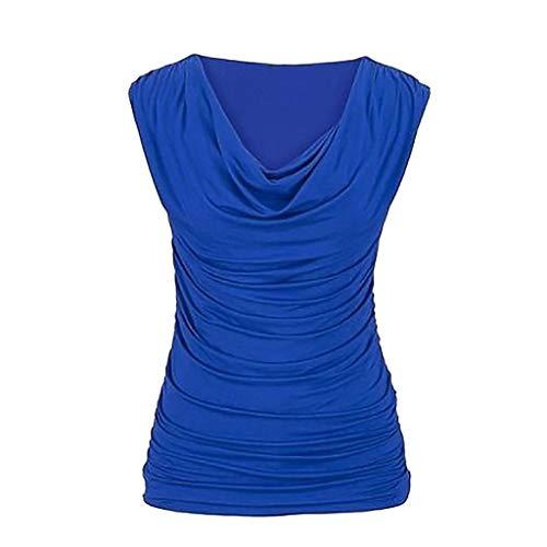 ESAILQ Frau LäSsiger Rundhals-Pullover äRmellos Schlank Abnehmendes T-Shirt Tops Bluse(Medium,Blau)