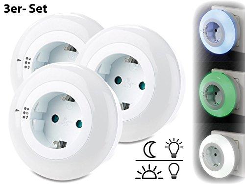 reVolt Nachtlicht-Lampen: LED-Nachtlicht mit Dämmerungssensor und Steckdose, 3 Farben, 3er-Set (Steckdosen Kinderlampe)