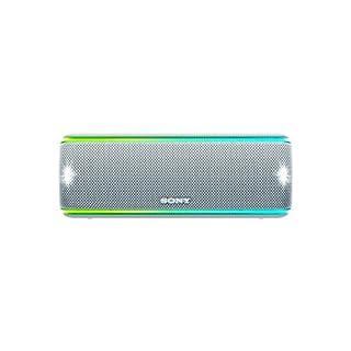 Sony SRS-XB31 kabelloser Bluetooth Lautsprecher (tragbarer, farbige Lichtleiste, Extra Bass, NFC, wasserabweisend) weiß