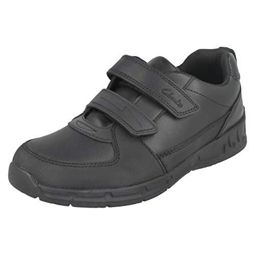 Clarks Maris Fire Inf Boy's School Shoes 10.5 Black Leather