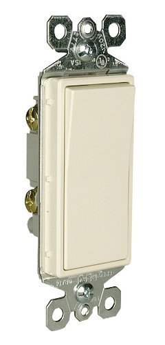 Pass and Seymour TM870LACP6 Decorator Switch, Single Pole, 15-Amp 120/277-Volt with Ground, Light Almond by Pass & Seymour