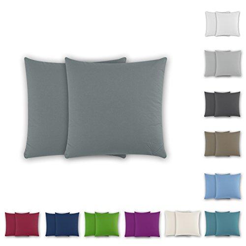 2er Pack Renforce Baumwolle Kissenbezug Kissenhülle mit Reißverschluss 40x40 cm Grau