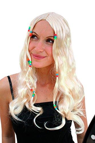 Woodstock Hippie Perücke Blond lang mit Perlen im Haar Beatnik (Beatnik Für Halloween Kostüme)