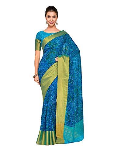 Fasherati Women's Chiffon Dress Material (4241-C7-SALN-16-AND_Turquoise_Free Size) Silk Border Print Dress
