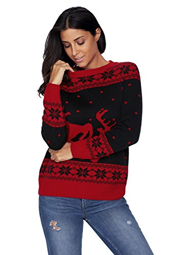 Festival Di Natale Christmas Eve Fair Isle RennaFiocco di neve Pullover Sweater Maglione Maglia Jumper Superiore Top Nero