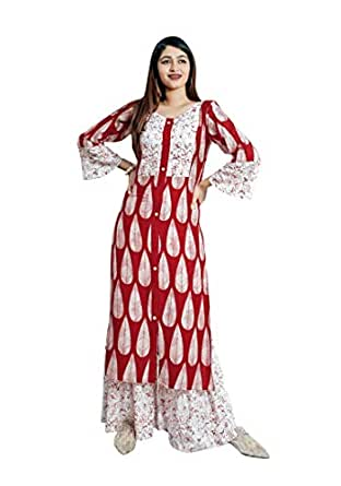 Dheylu Women's Cotton Kurti With Palazzo Pant Set (Multi Colour printed Kurta with Sharara) (Small)