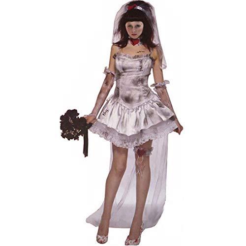 Kostüm Schwarz Kleid Kreative - KLAWQ Kreative Cosplay Dead Female Ghost Kleidung, Rollenspiel Hexe Kostüm, Lange Schwarze Vampir Braut Kleider mit Schleier, Holiday Party Decor-XL