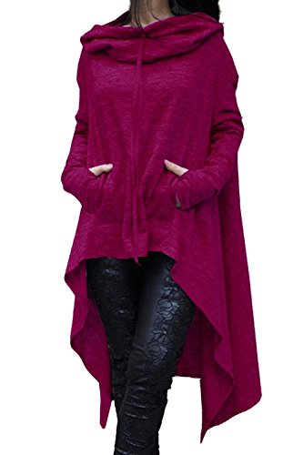 Minetom Damen Hoodies Pullover Unregelmäßige Strick Hoodies Oversize Langarm Pullikleid Longshirt Top Minikleid Violett DE 36 (Erwachsenen-raglan-langarm)