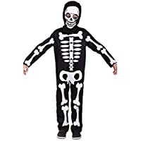 Halloween Skeleton Costume for Kids Boys Girls Toddler Skull Spooky Skelebones Cosplay Dress up with Skeleton Mask Large black GU-WB207-L
