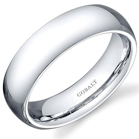 Revoni Traditional 6mm Comfort Fit Platinum Finish Mens Cobalt Wedding Band Ring Size R 1/2,