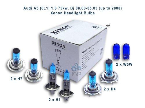 ampoules de phare de voiture d'effet de xénon H4 H1 H7 W5W, 8-pack