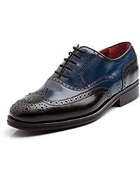 e81de3b8613 Zapato Oxford en Piel Bicolor Azul y Negro Beatnik Holmes Black   Blue.