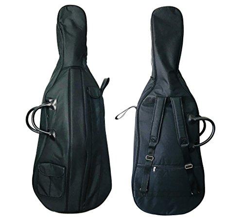 Mi & VI Soft Case Cello Tasche-dick gepolsterte stabile Wasserdicht Rucksack w/verstellbare Tragegurte, Henkel, Schleife & Tabelle Tasche, Zubehör Fach ergibt Cello 3/4 (Case Cello Soft)