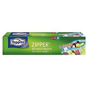 Toppits Zipper Allzweckbeutel 3 L, 1er Pack (1 x 8 Stück)