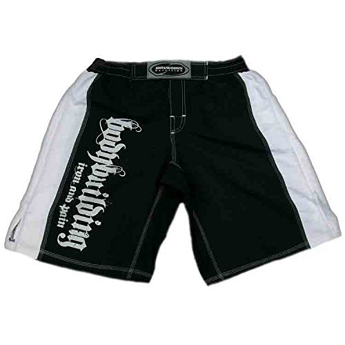 Da uomo, Ferro e dolore Bodybuilding Pantaloncini Stampato Bianco e nero C-19, Black and White, (Stampato Body)
