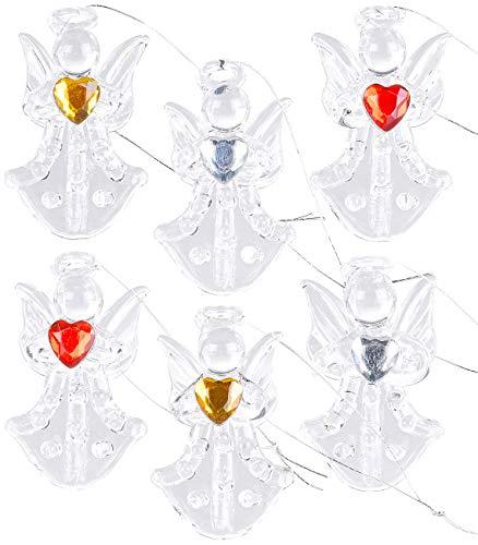 Britesta Tannenbaumschmuck: 6er-Set Glas-Anhänger Engel mit Herz, handgefertigt, je 46 x 28 mm (Adventsdekorationen) -