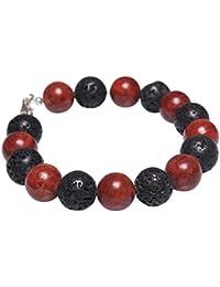 Armband aus Koralle Schaumkorallen & Lava & 925 Silber schwarz rot Armschmuck