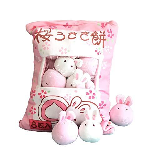 Jcsdhly Bolsa de Conejo Juguete de Peluche, Pudding Animal Cojin Mini Conejo Suave Juguete para Navidad Los Reyes Magos Cumpleaños Regalo, 45 x 35cm