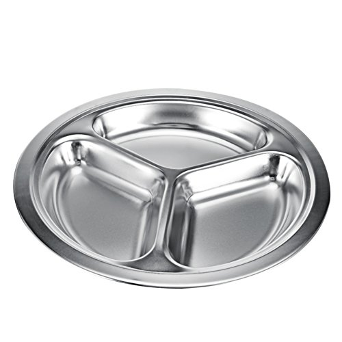 Assiette ronde en acier inoxydable avec compartiments, assiette divisée pour le camping, pour les enfants, pour tous les jours lors du déjeuner et du dîner