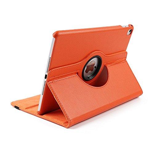 Preisvergleich Produktbild iPad 2017 Hülle , elecfan® Slim Fit iPad 9.7 Zoll Hülle Schutzhülle Etui Tasche mit Ständer Funktion und Eingebautem Magnet für Einschlaf/Aufwach für Apple iPad 9.7 (2017 New iPad, Orange)