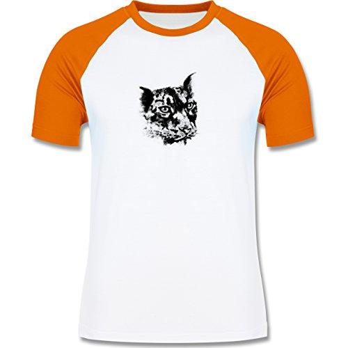 Wildnis - Gepard - zweifarbiges Baseballshirt für Männer Weiß/Orange