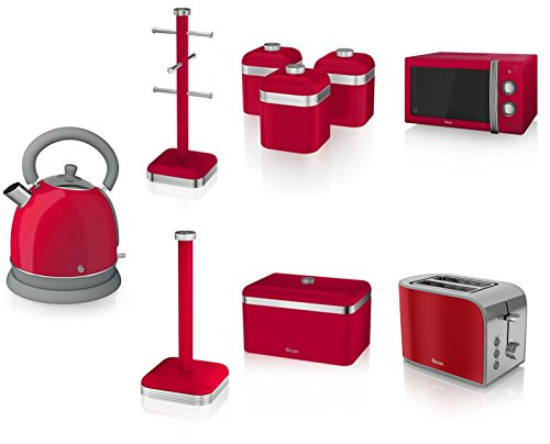 Swan Kitchen Appliance Retro Set - Red Manual Microwave, 1.8l Dome Kettle, 2 Slice Toaster, Retro Breadbin And 3 Canisters Set, 6 Mug Tree And Kitchen Roll Stand Towel Pole
