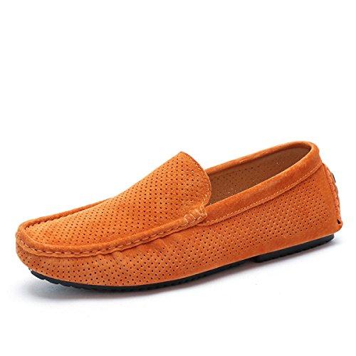 CHT Creux Chaussures Pour Hommes En Cuir Sandales D'été Paresseux Orange