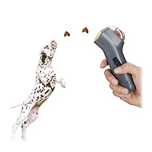 Relaxdays Pet Snack Launcher for Dogs and Puppies, Treat & Training Interactive Toy, Grey