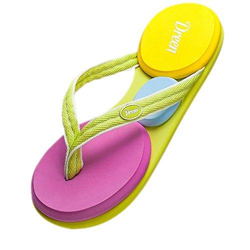 SHANGXIAN Chaussures pantoufles & tongs Summer toile extérieure plate talon tressé sangle en amont de la femme color
