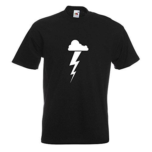 KIWISTAR - Gewitterwolke Blitz T-Shirt in 15 verschiedenen Farben - Herren Funshirt bedruckt Design Sprüche Spruch Motive Oberteil Baumwolle Print Größe S M L XL XXL Schwarz