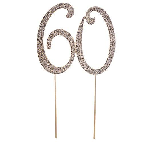 Strass 60 Zahl Kuchendeckel Kuchendekoration 60.Jahrestag Geburtstag Party Zubehör (Golden) ()