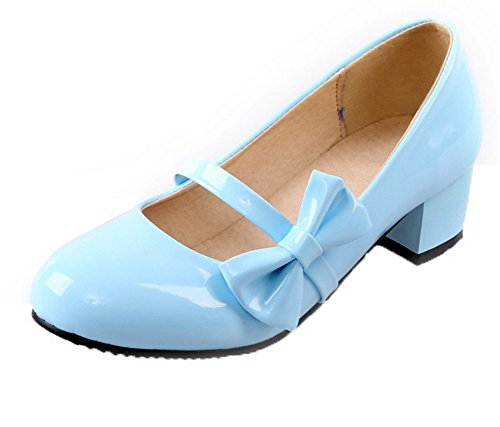 à Couleur Légeres Femme Rond Unie Talon Tire Bleu Bas VogueZone009 Verni Chaussures qBfEW