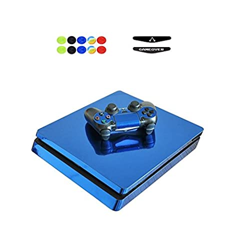 Skin for PS4 Slim, Chickwin Vinyle Protective Autocollant Decal Sticker pour Playstation 4 Slim console + 2 Dualshock Manette Set + 10pc Thumb Grips + 2pc Light Bar au hasard (Brillant Bleu)