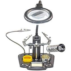 Tercera mano con lupa de aumento de cristal + iluminación LED, estación de soldadura de hierro fundido