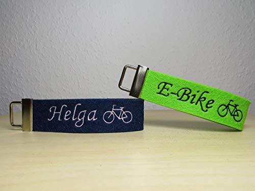 Schlüsselanhänger mit Namen oder Spruch - individuell bestickt - Schlüsselband- E-bike - Geschenk - Fahrrad - Wegbegleiter