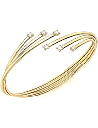 Carissima Gold 9 ct Yellow Gold with Flexible Russian Style Cubic Zirconia Bangle