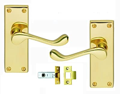 Victorian Scroll Brass Door Handle and Latch Set: Quality Carlisle Brass Door Handles